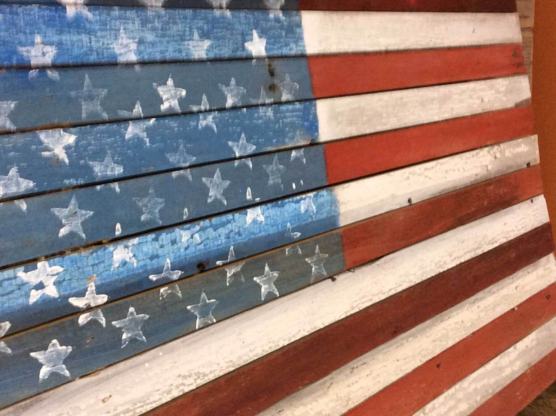 American Flag painted on reclaimed wood